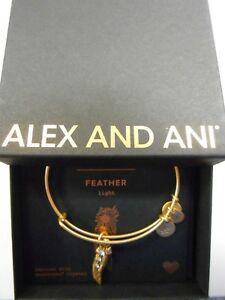 Alex and Ani FEATHER II Expandable Wire Bracelet Rafaelian Gold NWTBC