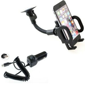 Type-C 3.1A Charger w Windshield Holder Car Mount for USB-C Phones