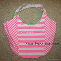 *NEW* $68 VICTORIA'S SECRET Hot PINK White Striped Large Purse Tote Bag Satchel
