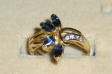 SOLID    14K  Gold   SAPPHIRE   Diamond   Cluster  Ring