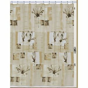 Creative Bath Botanical Collage 100% Cotton Shower Curtain Brown Abstract Floral