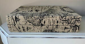 World Atlas Map Secret Storage Fake Book Box Decor Natural Tan Black Large