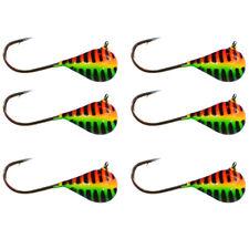 Tungsten Jigs - 6 PACK - (6mm - #8 Hook) Orange/Green Stripe GLOW
