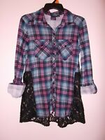 Eye Candy Women's Size Medium Long Sleeve Flannel And Lace Blouse