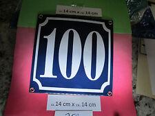 Hausnummer Nr. 100 weisse Zahl auf blauem Hintergrund 14 cm x 14 cm Emaille