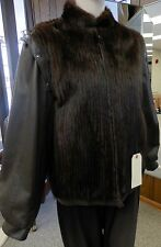 """Corded Mink Fur 25"""" Zip Jacket with Detachable Leather Sleeves, sz 6"""