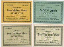 WERL  500.000 + 1 , 2 und 5 Millionen MarkMilion 17 August 1923  Notgeld  (97