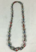 Colourful Vintage Venetian Murano Graduated Millefiori Art Oval Bead Necklace