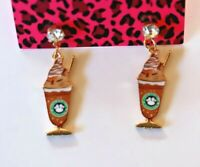 Betsey Johnson Crystal Rhinestone Enamel Starbucks Post Earrings