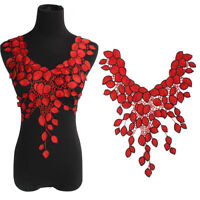 Large Red Flower Lace Embroidery Venise Neckline Motif Collar Patches Applique