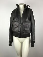 Cockpit USA Women's Large Aviator B-3 Soft Leather Bomber Jacket Brown Zip New