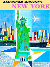 New York City Statue Liberty Vintage United States Travel Advertisement Poster