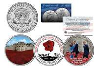TOWER OF LONDON REMEMBERS Colorized JFK Half Dollar U.S. 3-Coin Set RED POPPIES