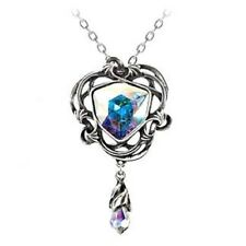 Alchemy Gothic Empyrian Eye Tears From Heaven Pendant Necklace AB Crystal Pewter
