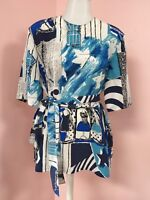 LOUIS FERAUD 8 10 Rare Fun Blue With Sash Women's Designer Vintage Blouse Top