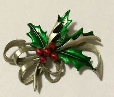 JJ VINTAGE CHRISTMAS HOLIDAY HOLLY BERRY WITH RIBBON PEWTER BROOCH