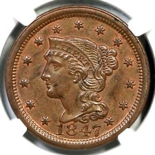1847 N-6 NGC MS 62 BN Braided Hair Large Cent Coin 1c