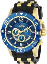 NEW Men's Invicta Pro Diver 50 MM Chrono 18K Gold Plated Blue Dial Poly Watch