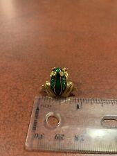 Vintage Signed Avon Rhineston Eyes Green Frog Tie Tack Lapel Pin Free Shipping
