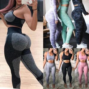 Women Seamless Leggings Bra Gym High Waist Push Up Sports Fitness Yoga Pants CY0