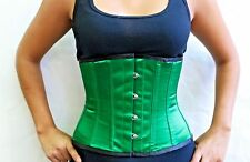 "New Sample! 305 Authentic Green Satin 22"" Inch Underbust Corset Steel Boned"