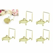 6pcs Tea Cup And Saucer Stand Display Easels Brass Etched Base