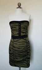 H&M army Green Animal Tiger Print Strapless Summer Casual Mini Dress Sz 6