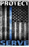 Protect and Serve Blue Line American Flag Sublimated T-Shirt