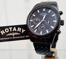 ROTARY Mens Watch Black Chronograph RRP £190 Genuine Boxed (r78