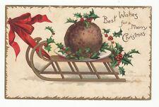[60406] 1907 CHRISTMAS POSTCARD ELLEN CLAPSADDLE SIGNED MEATBALL ON A SLED