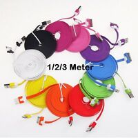 1M 2M 3M USB Flat Noodle Charger Cable For Apple iPhone 4 & 4S, iPad 2 & 1 iPod