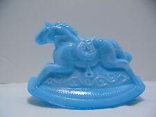 Vintage BLUE slag GUERNSEY Glass ROCKY rocking horse #3 1982