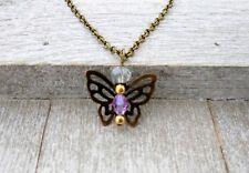 Birthstone pendant charm necklace guardian angel June Alexandrite Light Amethyst