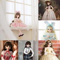 60cm BJD Puppe Kugelgelenk Mädchen Puppen Augen Gesicht Make-up Perücke Kleid