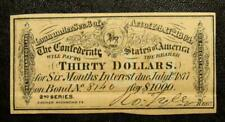 Confederated States of Ameica 1864 Civil War Bond Coupon, Richmond Virginia