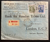 1930 Moscow Russia Registered Commercial Bank cover To London England