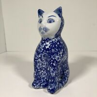 "Blue Porcelain Floral Decorated Cat Figurine Cat Themed Collectible 8"" Tall"