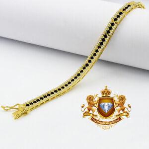 Real Genuine Yellow Gold Sterling Silver Onyx Black Tennis Bracelet Unisex 7.5'