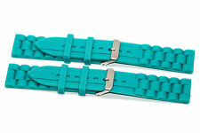 2 PIECES 22MM TEAL SILICONE RUBBER SPORT WATCH BAND STRAP FITS FOSSIL