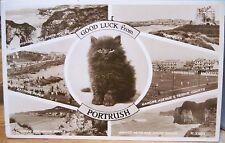 Irish Postcard RPPC Good Luck from PORTRUSH Cat Multiview Northern Ireland 1957