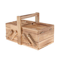 Decorative Home Table Organizer Wooden Cantilever Sewing Case Jewelry Chest
