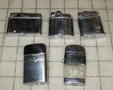 4 Vintage Chrome and a Scripto VU Lighters - Blue Ribbon, Prince, Pac, Ronson