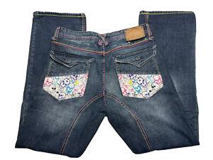 Men's ARTFUL DODGER Denim Jeans Embroidered SKULLS Size 33 Color GUC