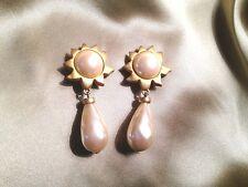 Ann Taylor Faux Baroque Pearl & Gold Tone Sun Dangle Pendant Clip Earrings