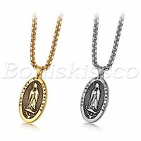 Men's Stainless Steel Virgin Mary Bible Text Prayer Oval Pendant Necklace Chain