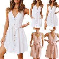 Womens Button V Neck Mini Dress Ladies Summer Holiday Beach Sleeveless Sundress