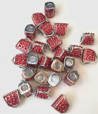 Handbag Shaped Silver Beads Encrusted With Red Gems Large Hole Pack of 25