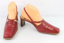 f513e424 VINTAGE Zapatos De Salón Abiertos ROLAND Cuero Rojo T 39 MUY BUEN ESTADO