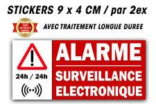 Autocollant Stickers ALARME 24/24  - SURVEILLANCE ELECTRONIQUE PAR 2
