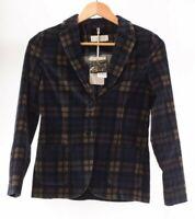 Circolo NWT Blazer Size 40 in Blue/Tan/Black Multi Plaid $550